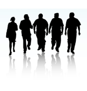 group-of-business-people-walking-and-talking-vector