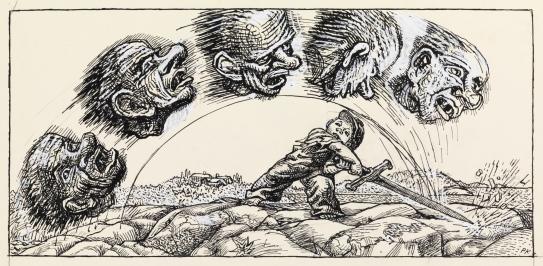 Så hugg han til trollet, så alle fem hodene føk bortover sanden