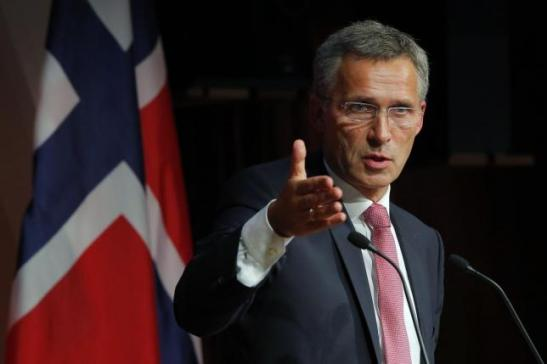 Norway's PM Stoltenberg answers a question from the audience following his speech at the Kennedy School of Government at Harvard University in Cambridge