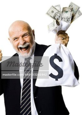 640-03260842 © Masterfile Royalty Free Model Release: Yes Property Release: No Portrait of businessman holding money bag