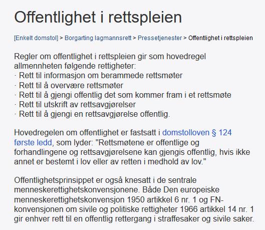 TINGRETT TIL OFFENTLIGGJØRING